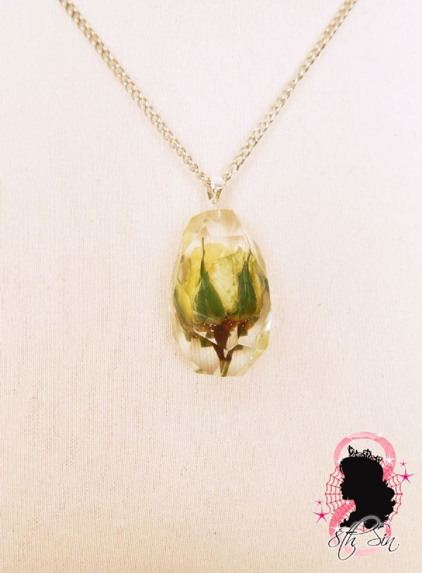 Bulgarian White Rose in Jewel Necklace